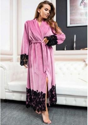 Шикарный велюровый халат с кружевом