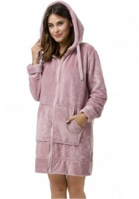 Модный пушистый халат с капюшоном - розовый, джинсовый