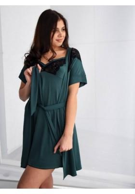 Комплект: халатик и сорочка - черный, голубой, марсала, фиолетовый, зеленый