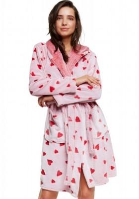 Теплый женский халат с сердечками - Красный, розовый, серый