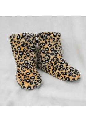 Домашние сапожки-угги - черный леопард, коричневый леопард