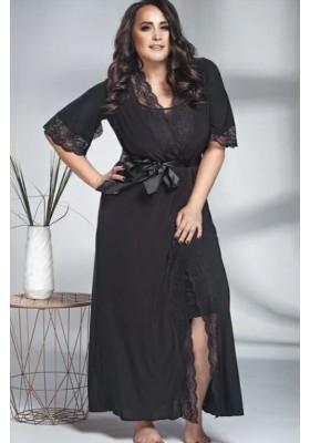 Длинный халат с кружевным декором - черный, синий, кремовый