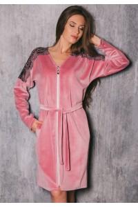 Велюровый халат с кружевом - пудра, розовый, синий